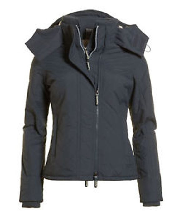 Womens Superdry Hooded Sherpa Quilted SD-Windcheater mid Charcoal (XS)
