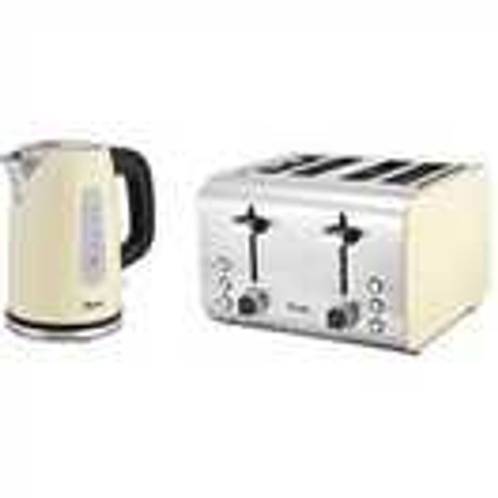 Swan Stainless Steel Kettle & 4-Slice Toaster Twin Pack - Cream