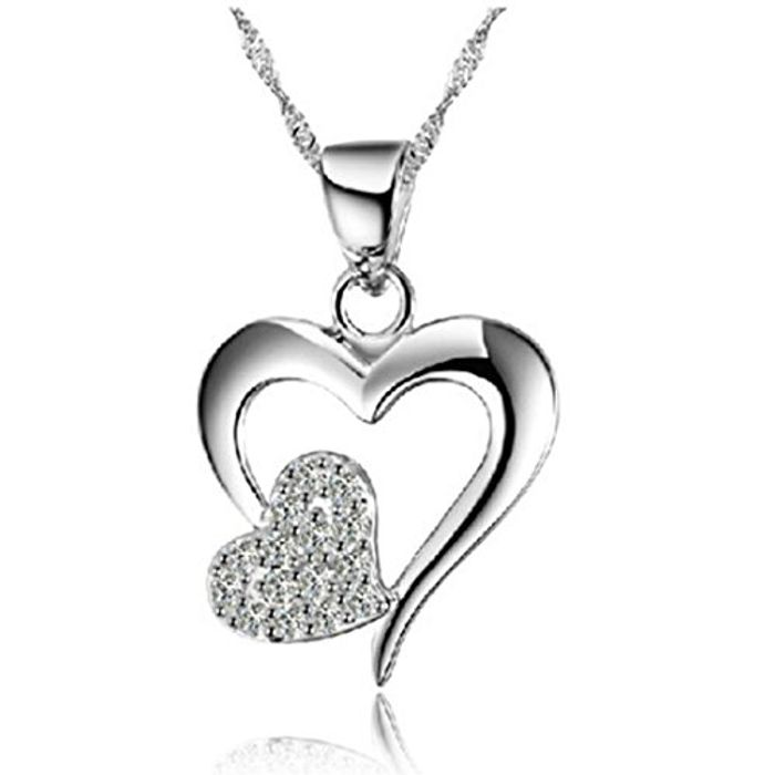925 Sterling Silver Love Heart Diamond Crystal Pedant Necklace for Women