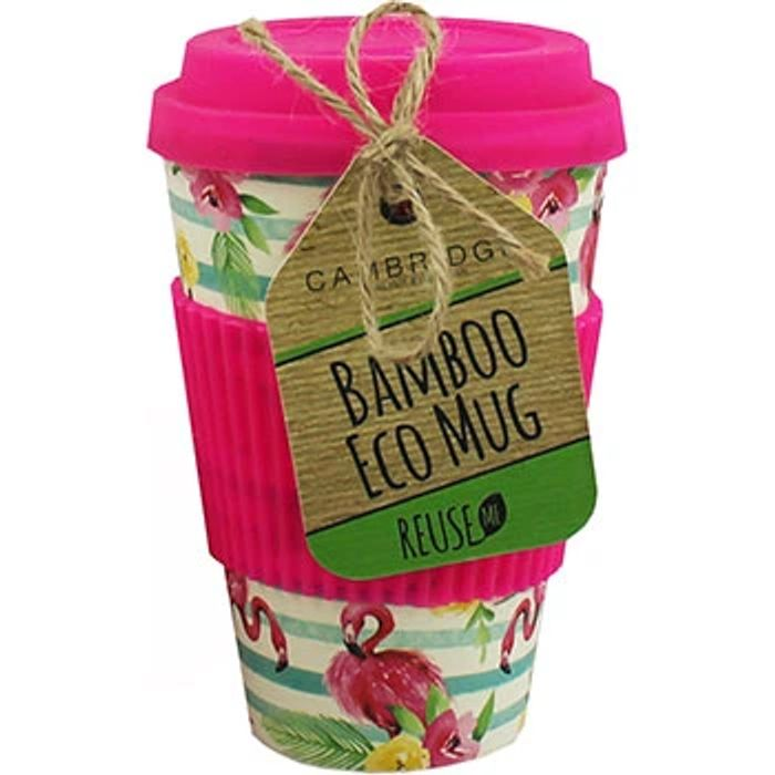 Pink Flamingo Bamboo Eco Travel Mug