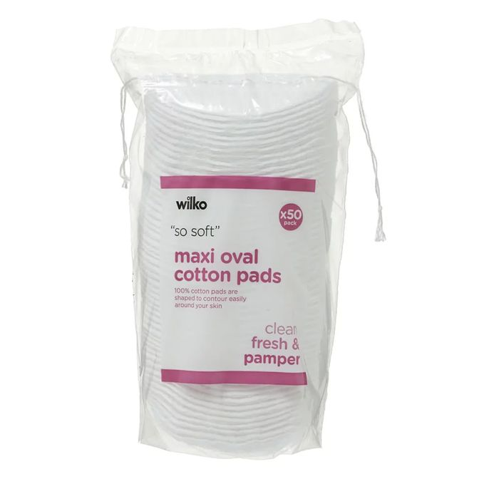 Wilko Skin Therapy Cotton Wool Pads Oval Large 50pk