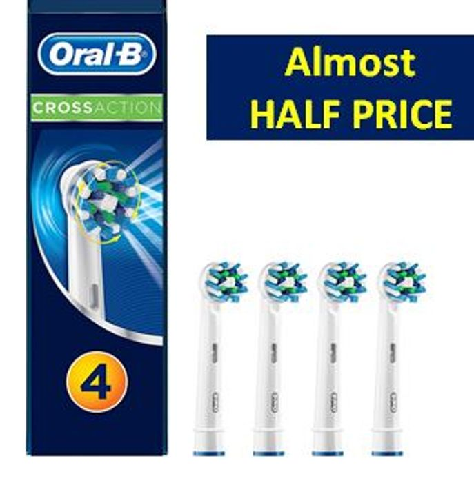 ALMOST 1/2 PRICE at AMAZON: Oral-B CrossAction Toothbrush Heads (4 PACK)