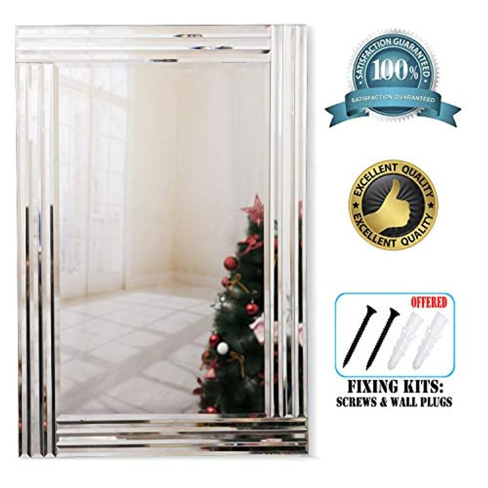 Triple Bevelled Edges Rectangle Large Silver Wall Mounted Mirror