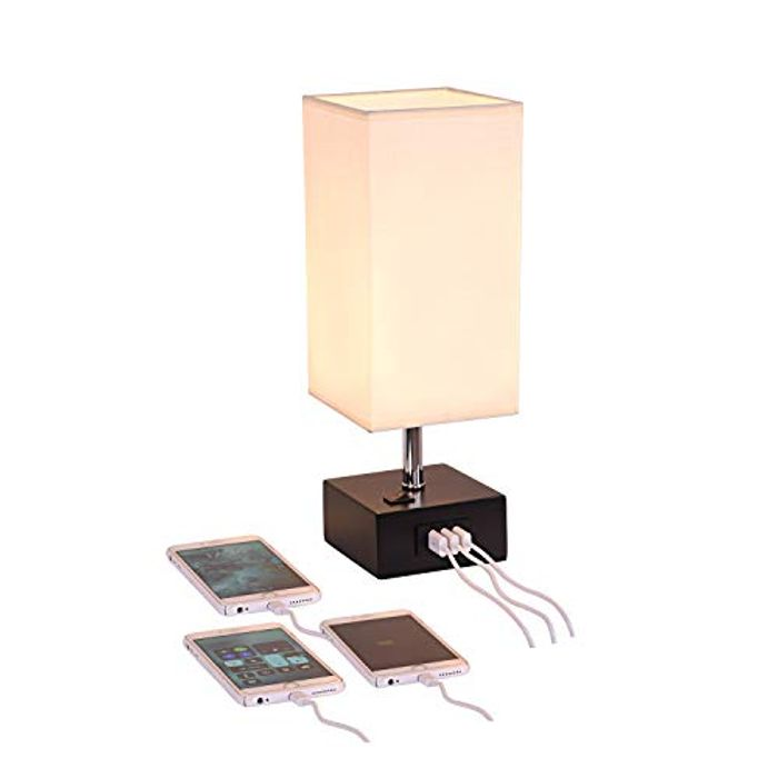 Bedside& Desk Lamp with 3 USB Charging Ports,Black Wood Charger Base