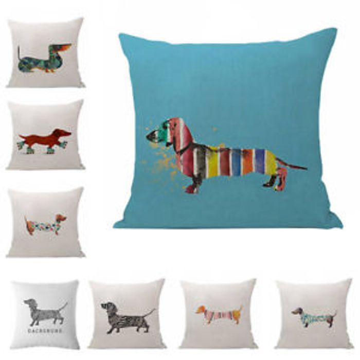 Lovely Sausage Dog Pillow Case Linen Waist Cushion Cover Home Car Sofa Admiring