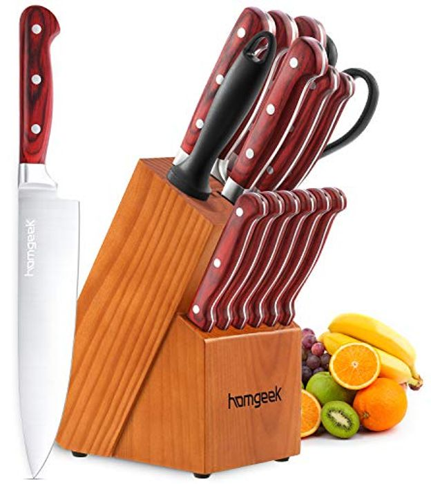 *STACK DEAL* 15-Piece Kitchen Knife Set with Block Wooden