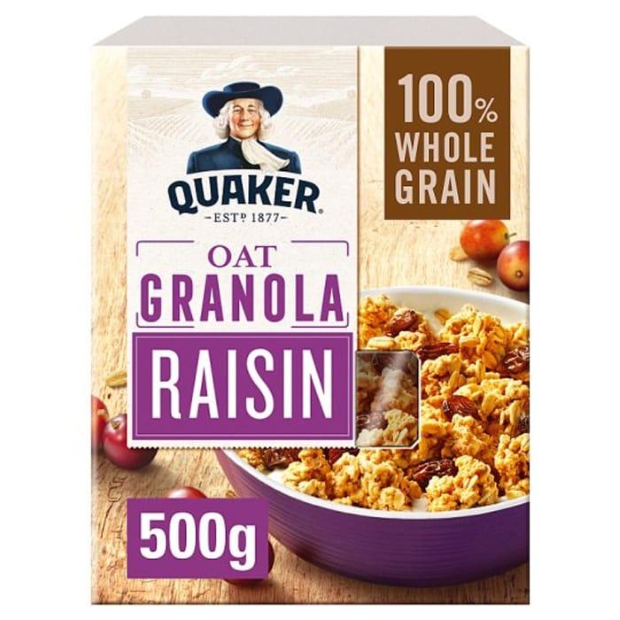 Quaker Oat Granola Raisin 500G Half Price at Tesco