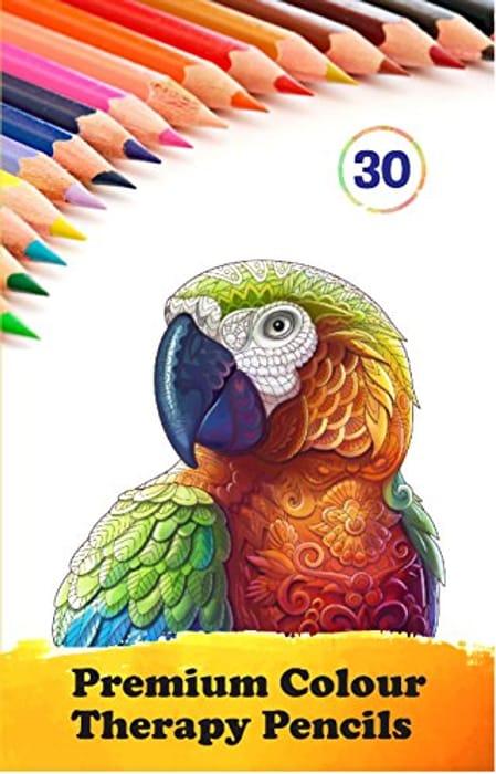 30 Multi Coloured Colour Therapy Colouring Pencils