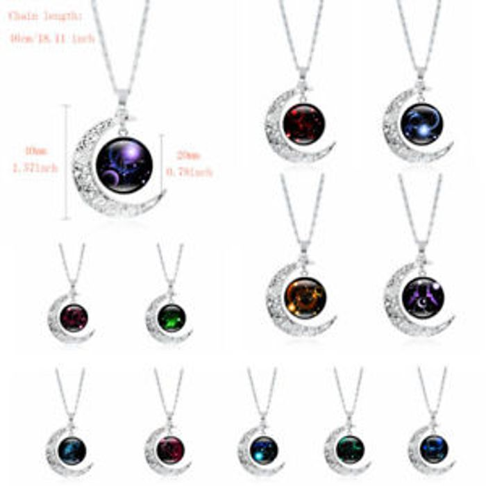 Pretty Half Moon Zodiac Style Necklace