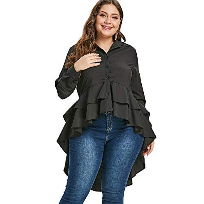 RoseGal plus Size Flounced High Low Blouse
