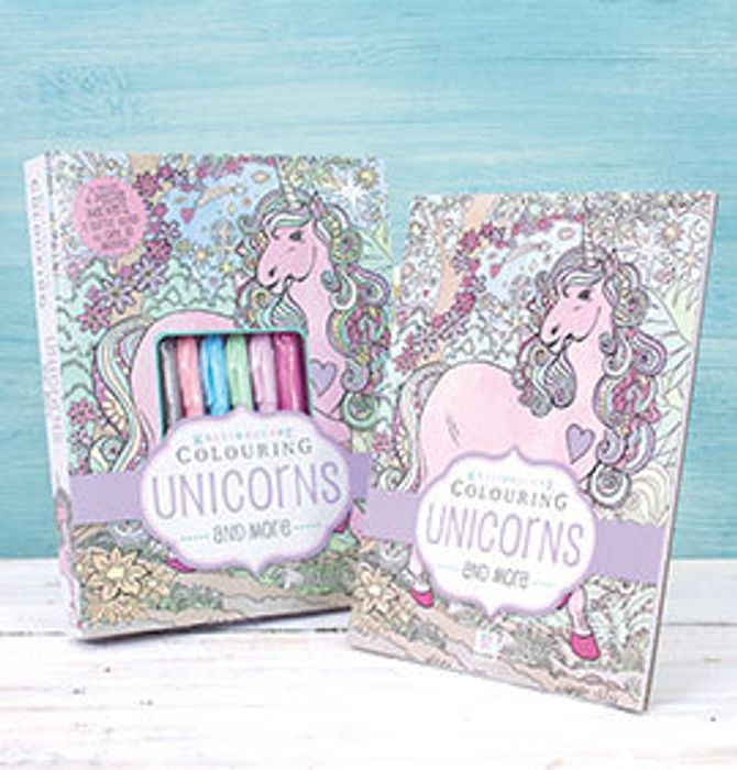 Colouring Unicorns Set with Pastel Pens and Glitter Glue