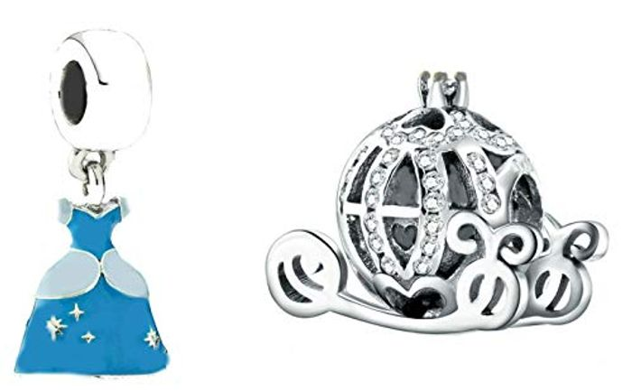 2 Pack Disney Cinderella's Ball Dress and Carriage Charm