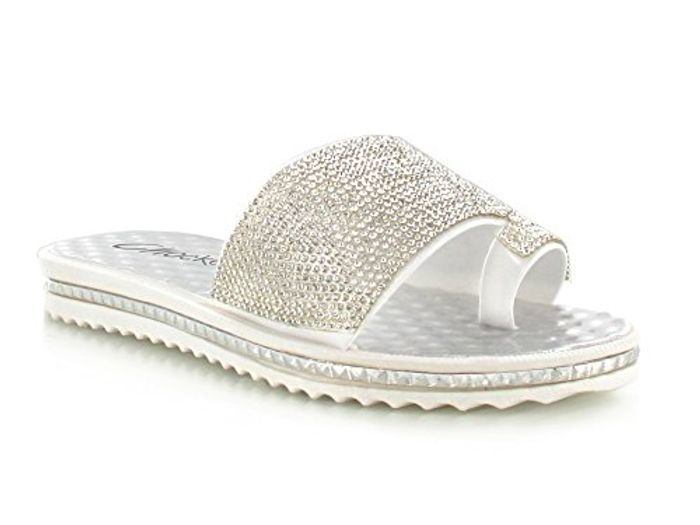 Chockers Shoes Womens Ladies Diamante Wide Strap Sliders FREE DELIVERY