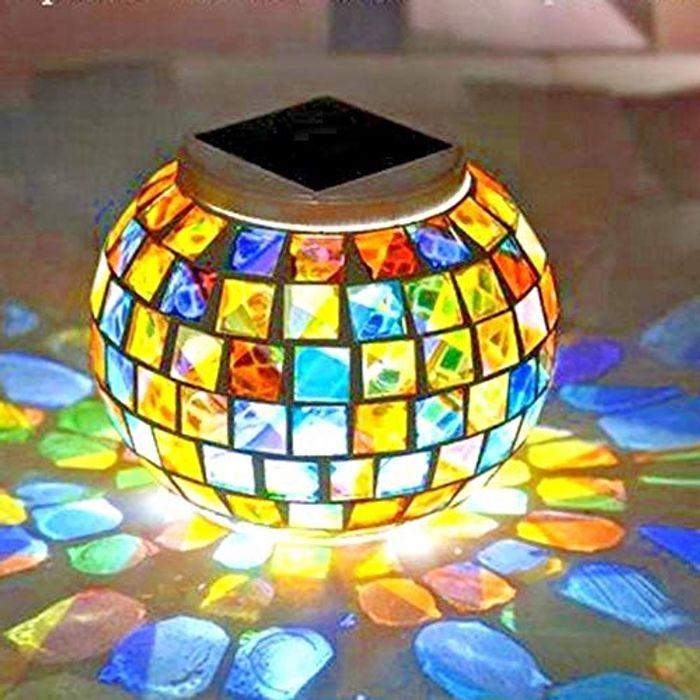 Solar Powered Mosaic Glass Colour Changing LED Lantern Table Lamp