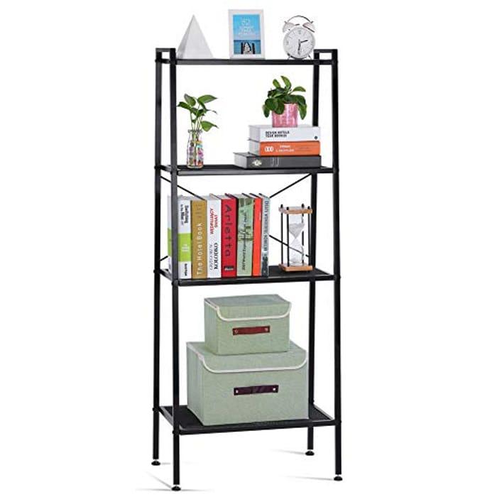 Ladder Shelf Unit 4-Tier Storage Shelves Stand Bookcase Shelving Unit
