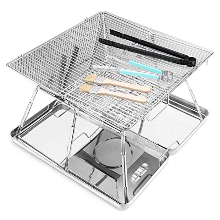 Portable Charcoal Grill Folding Stainless Steel BBQ Grill for Garden
