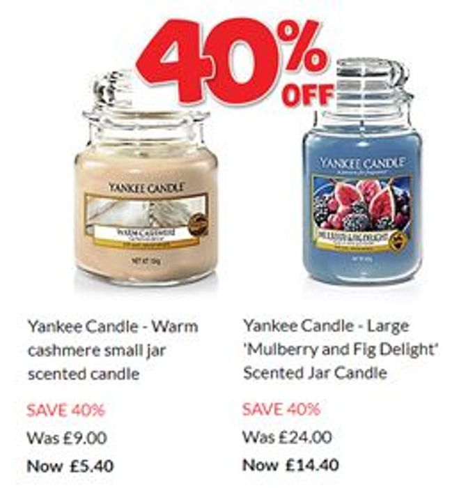 40% OFF Yankee Candles in DEBENHAMS SALE