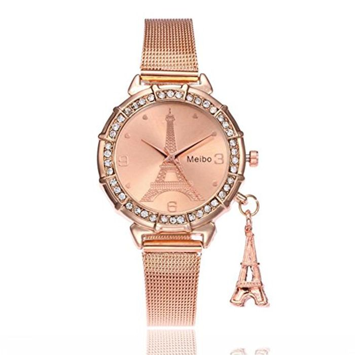 Familizo MEIBO Fashion Women Eiffel Tower Stainless Steel Quartz Wrist Watch