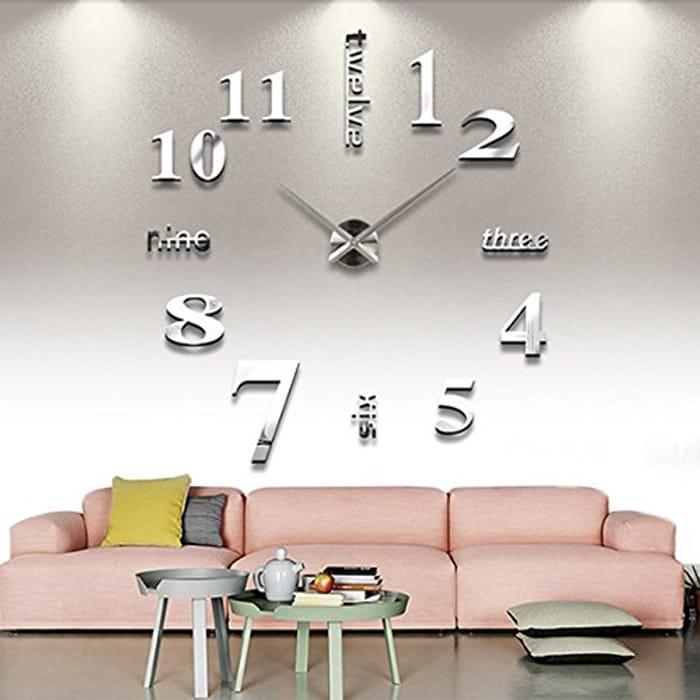 Chinatera DIY Large Wall Clock 3D Mirror Sticker Big Watch