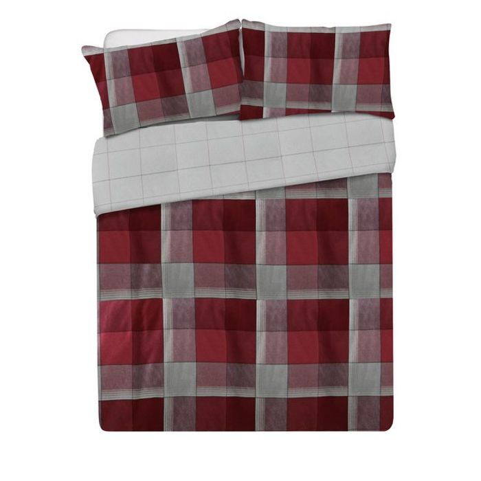 Argos Home Louis Red Brushed Cotton Bedding Set - Double