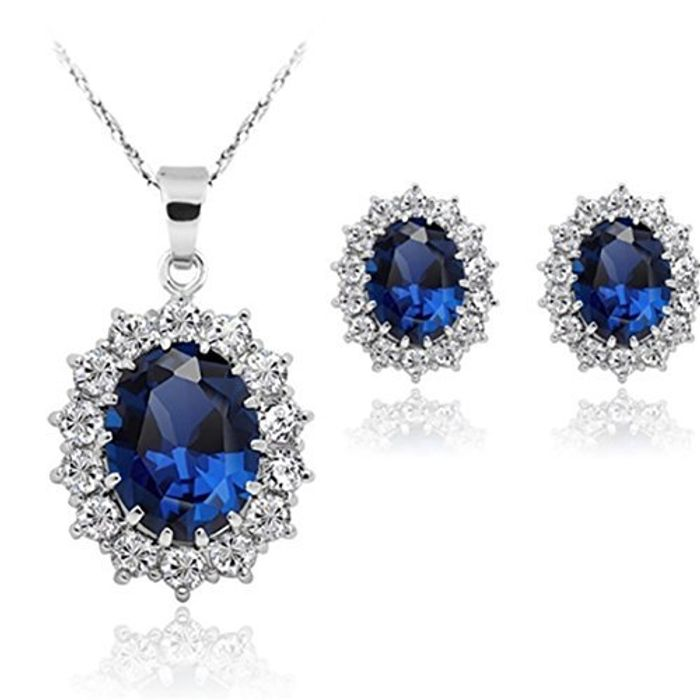 Stayeal Women Princess Blue Sapphire Pendant Necklace Earrings Set