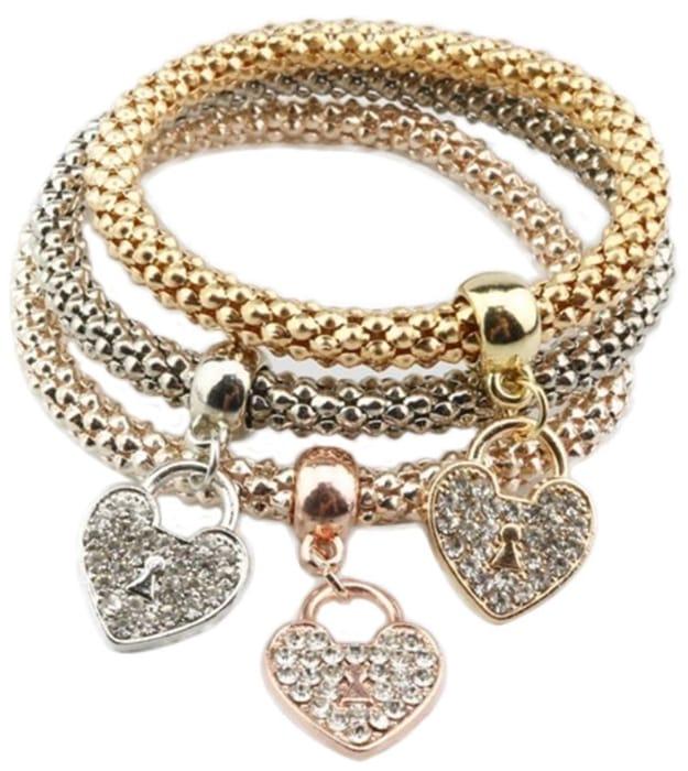 3Pcs Charms Pendent Elegant Jewellery Hand Chain Bracelet for Women