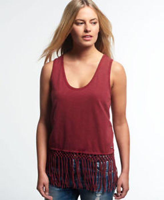 New Womens Superdry Neonomad Knot Vest Top Burgundy Medium