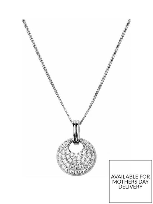 *HALF PRICE* Sterling Silver Cubic Zirconia round Cluster Pendant Necklace