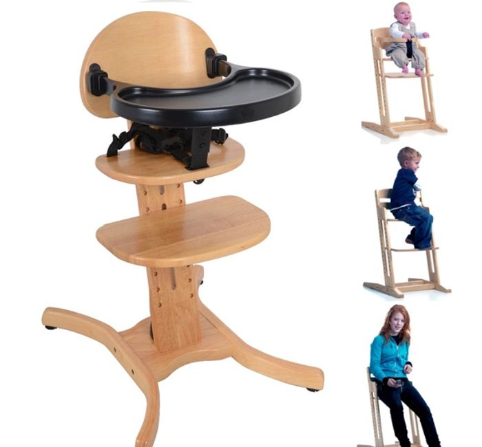 East Coast Curved Multi Height Wooden High Chair - Natural
