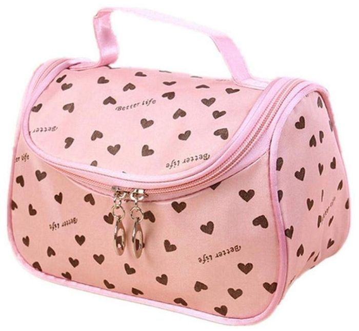 Travel Cosmetic Bag Case Heart Print Makeup Beauty Brush Travel/Toiletry Bags
