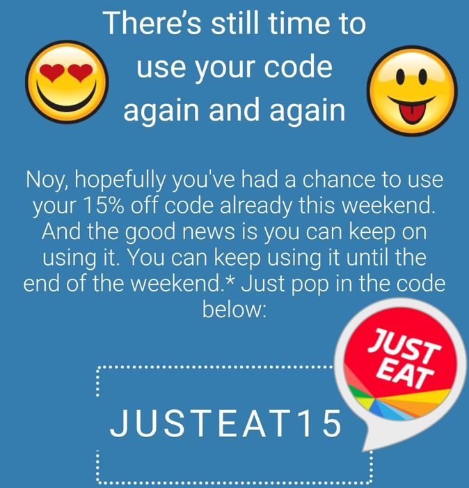 Justeat, 15% off All Weekend