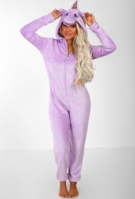 Unicorn for Life Purple Sparkle Fleece Unicorn Hooded Onesie