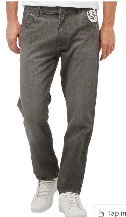 Cheap Henleys Mens Studding Jeans Solid Grey