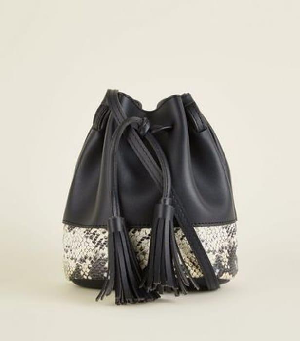 Black Faux Snake Panel Tassel Duffle Bag