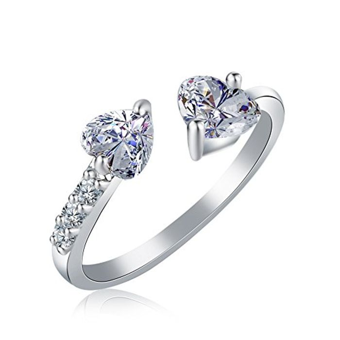 Womens Jewellery Heart Crystal Opening Adjustable Ring