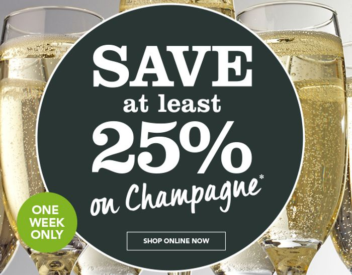 One Week Only! save at Least 25% on Champagne