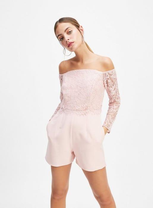 Petite Pink Lace Mix Playsuit
