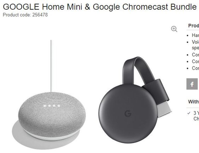 GOOGLE Home Mini & Google Chromecast Bundle - Chalk