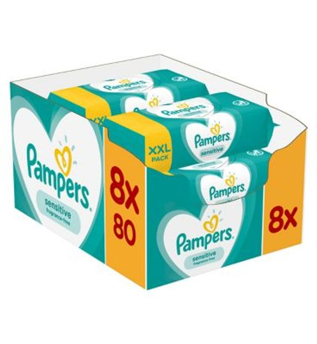 Pampers Sensitive Baby Wipes, 8 X 80 Packs = 640 Wipes