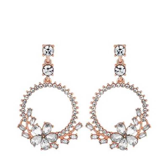 Mood - Rose Gold Plated Clear Mini Detail Diamante Hoop Drop Earrings