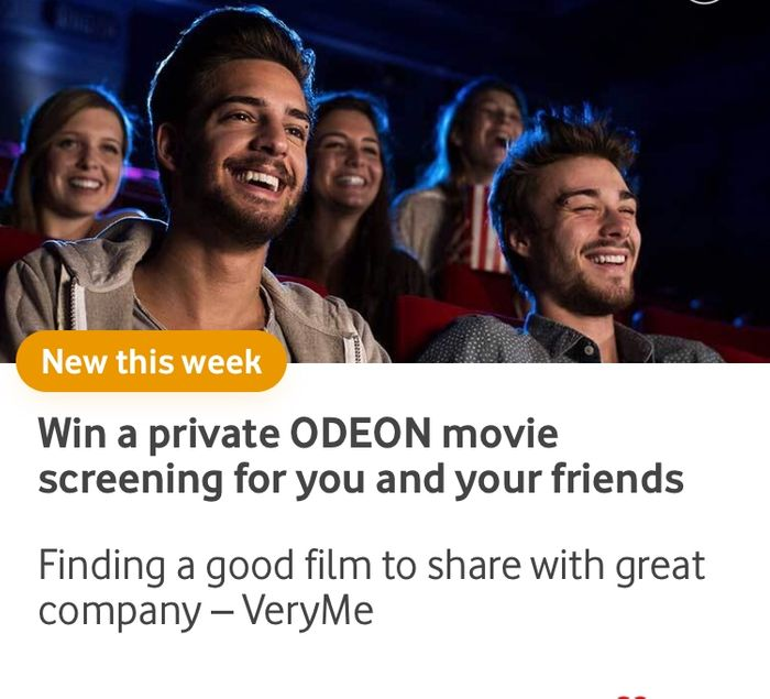 Win a Private Cinema Screening with Vodaphone Very Me Rewards App