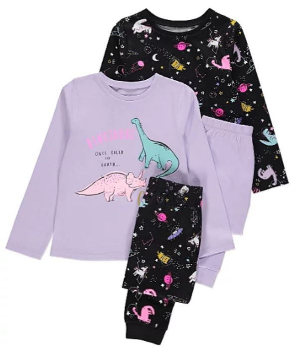 Assorted Space Dinosaur Pyjamas 2 Pack Only £6