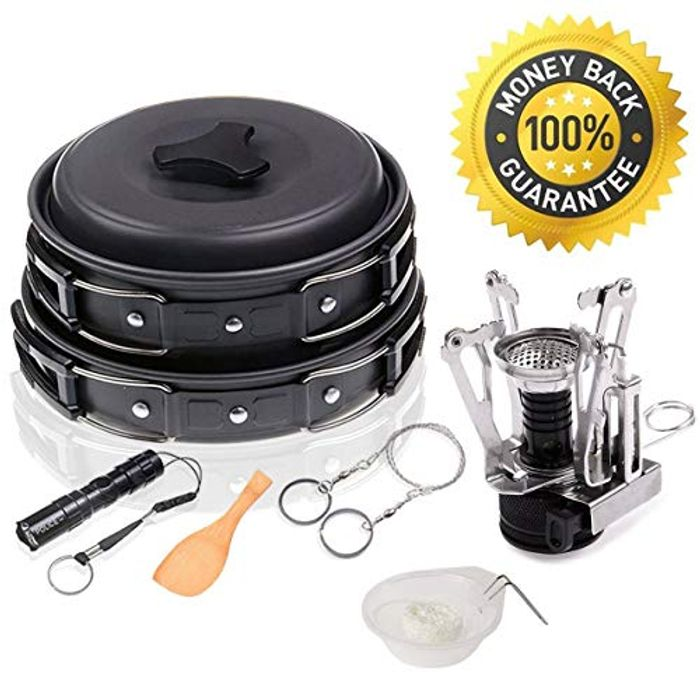 **BARGAIN** 12 Piece Camping Cookware Kit