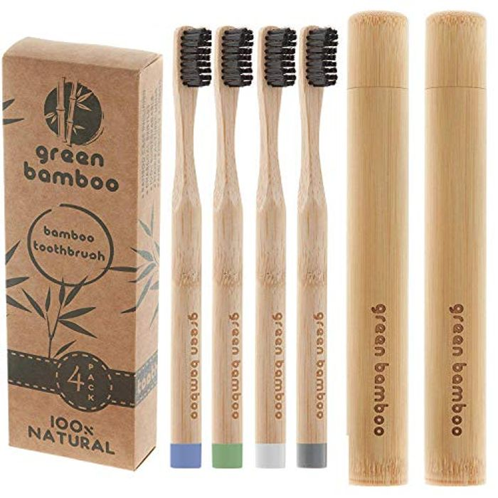 4 Bamboo Toothbrushes + 2 Extra Travel Cases - 75% Voucher
