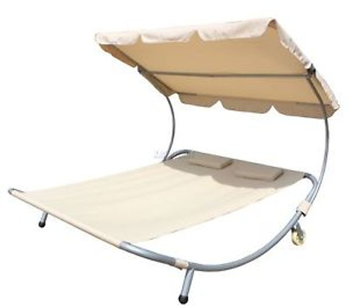 Outdoor Patio Double Sun Lounger Day Bed Hammock Canopy - 40% Off