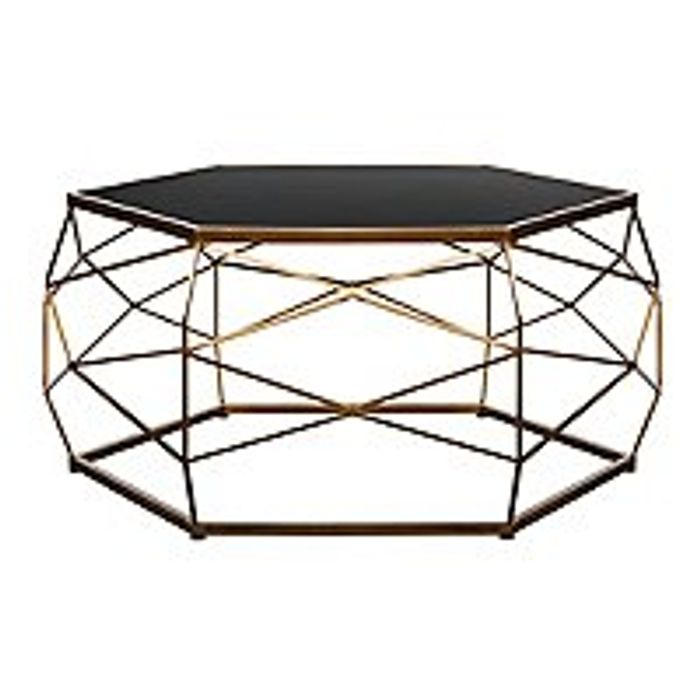 Glass Top Geometric Coffee Table 25 Off Offer Discount