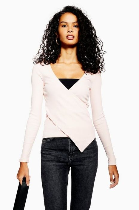 Topshop Asymmetric Ribbed Wrap Top