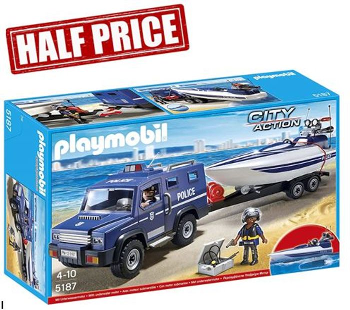 1/2 PRICE PRIME DEAL: Playmobil Police Truck with Speedboat **4.5 STARS**