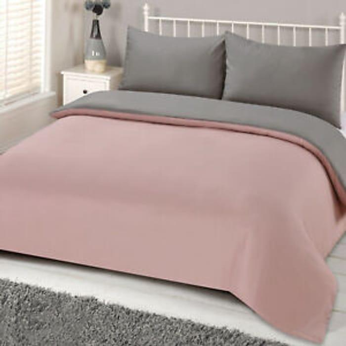 Brentfords Reversible Blush Grey Duvet Cover Pillowcase Bedding Set from £8.50