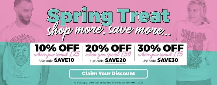 Spring Treat' - 10%, 20%, 30% off Voucher Codes for TruffleShuffle